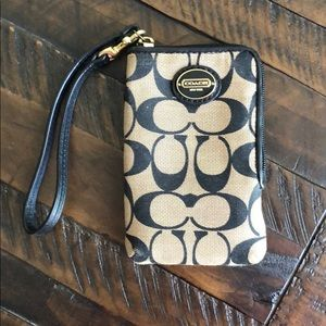 *like new!* Brown & black authentic Coach wristlet